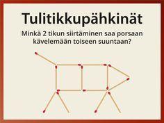 Erilaiset tulitikkupulmat ja -tehtävät ovat siirtyneet ikäpolvelta toiselle. Tulitikkupähkinät 1 ja 2 sisältävät kumpikin 10 perinteistä tulitikkutehtävää. Näytä tehtävät näytöltä tai muodosta vaikka puukepeistä ulkona.