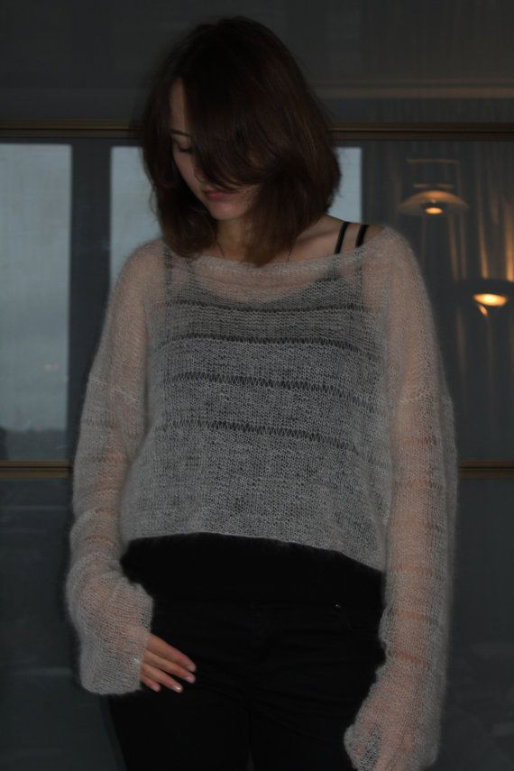 Loose knitted sweater soft kid mohair oversized sweater plus size crop top sheer mohair cropped jumper bohemian clothing pullover kid mohair