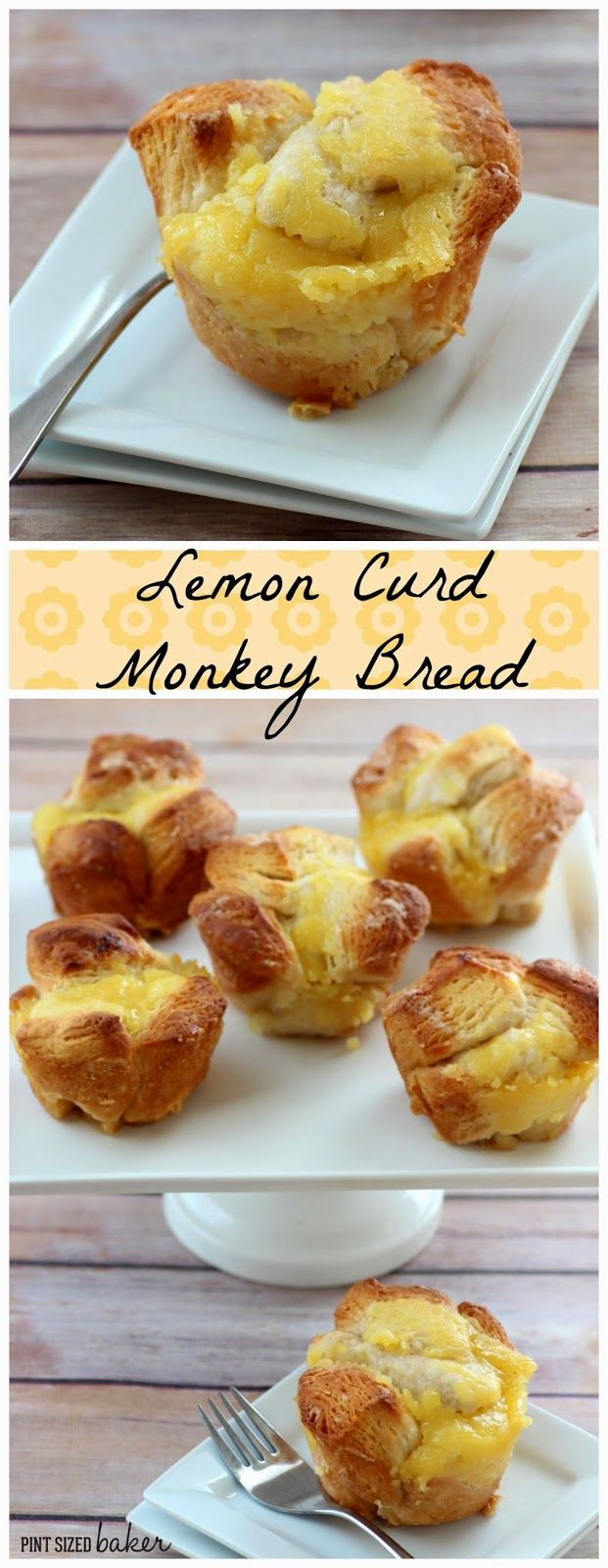 Lemon Curd Monkey Bread made with biscuit dough | Pint Sized Baker #lemon #monkeybread