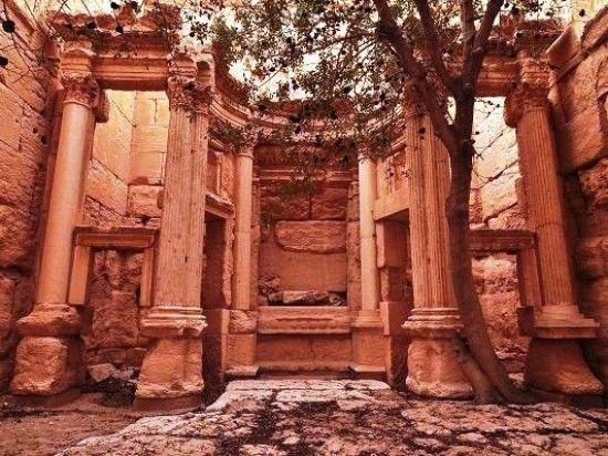 Large columns and colossal statues, temples, monuments and gardens built by Zenobia.