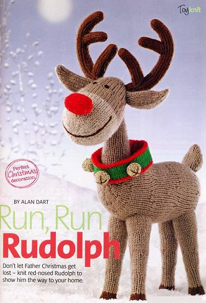 Toys Easter Magazine : Alan dart toy knitting pattern rudolph the red nosed