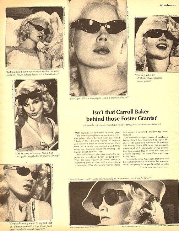 1965 Foster Grant Sunglasses Advertisement Retro Art Carroll Baker American Film Actress Sex Symbol Icon Blonde Bombshell Pin Up Wall Decor on Etsy, $12.95