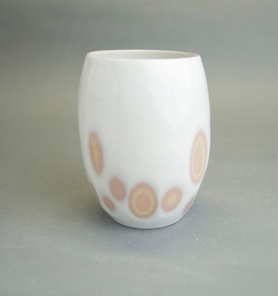 SECOND QUALITY, REGULAR PRICE 120$ Modern two sides vase made of stoneware created using colour-slip technique, covered with transparent glaze.  The