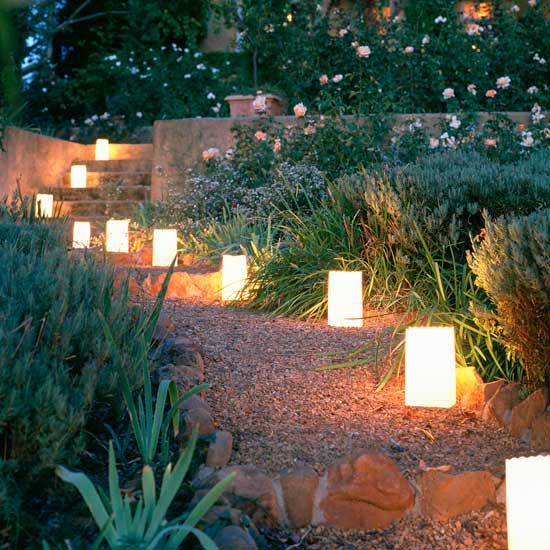 Romantic lanterns lighting a gardens path: Lights, Garden Ideas, Paths, Garden Design, Lighting, Wedding Ideas, Outdoor, Gardens