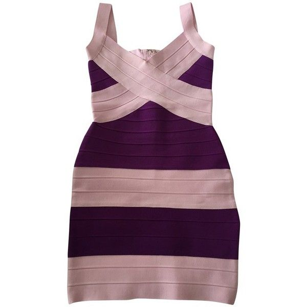 Pre-owned Dress (£250) ❤ liked on Polyvore featuring dresses, violet, purple dress, preowned dresses, bandage cocktail dresses, purple bandage dress and hervé léger
