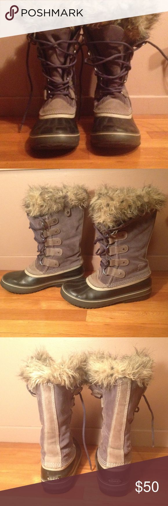 Sorel Joan of Arc winter boots 11 Very cute boots. Well loved but lots of life left. Tread on bottom is worn but still waterproof. Please see pics. Sorel Shoes Winter & Rain Boots