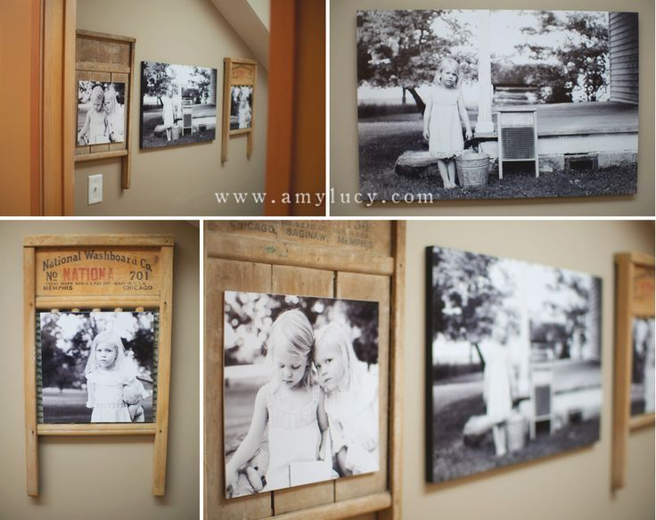 Old washboards are a creative way to display pictures ...