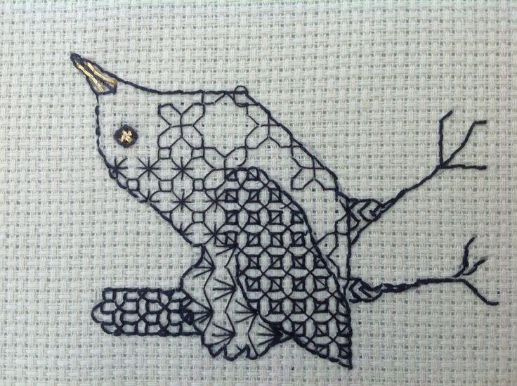 Blackwork wren; my own design