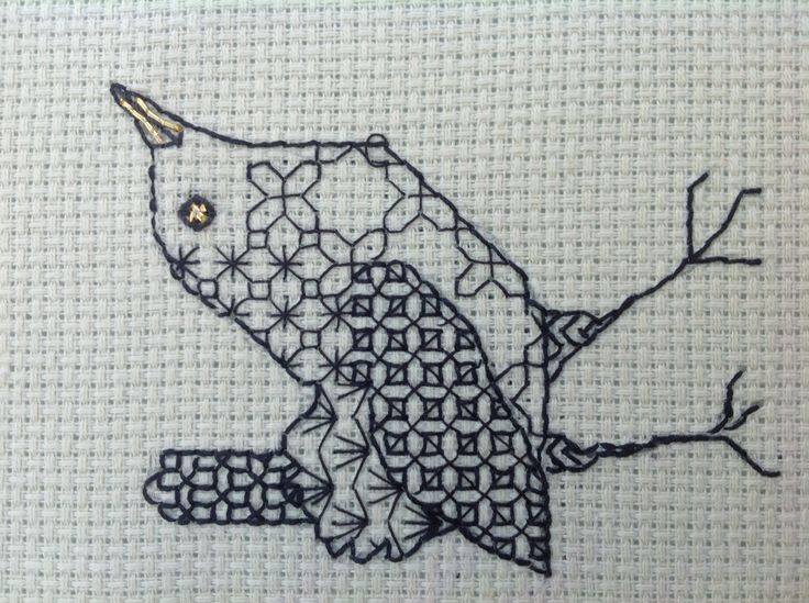 Blackwork wren; my own design
