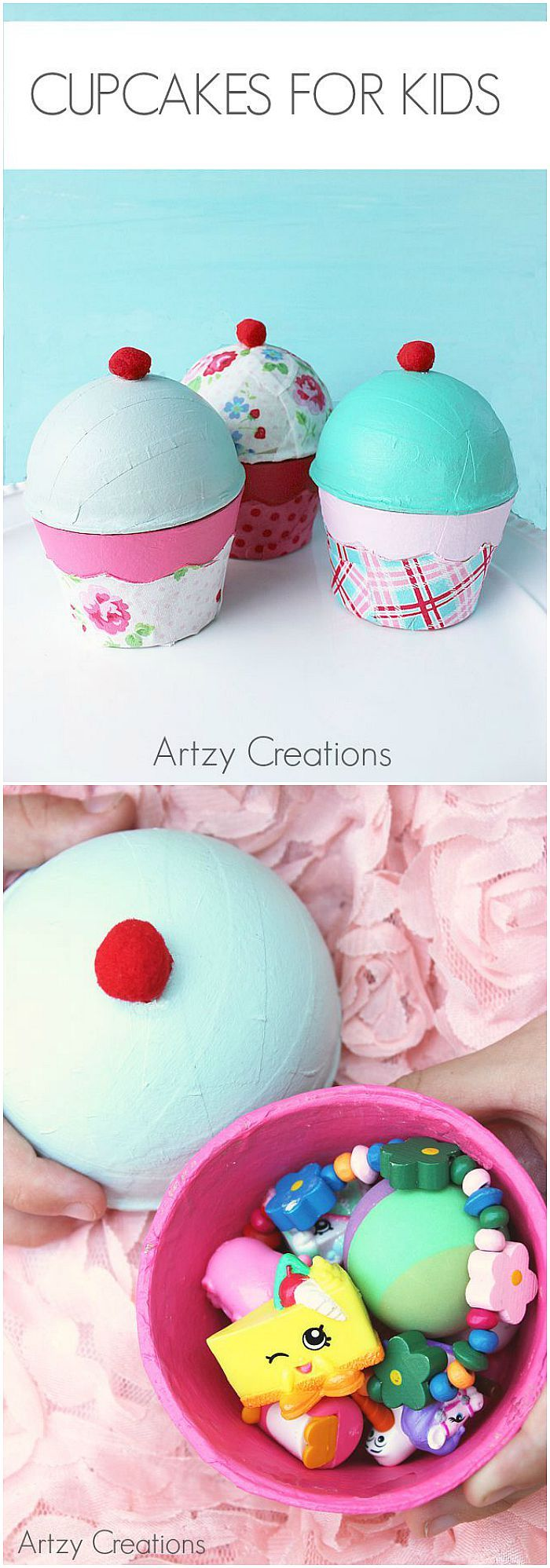 Crafts - Super cute Cupcakes for Kids by artzycreations.com Adorable for party favors! PIN IT NOW AND MAKE IT LATER!