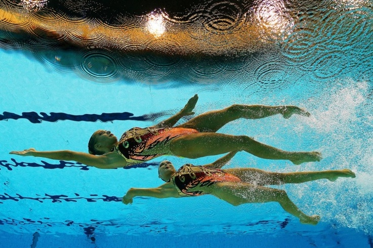 Olivia Federici and Jenna Randall of Great Britain compete in the Women's Duets Synchronised Swimming Technical Routine on Day 9 of the London 2012 Olympic Games at the Aquatics Centre on August 5, 2012 in London, England. (Photo by Clive Rose/Getty Images)