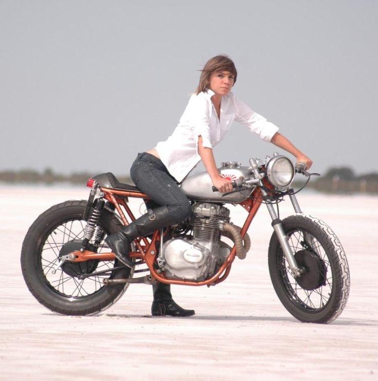 Honda CB 360 cafe racer custom on sand. Perfect size for motoladies who like smaller bikes.