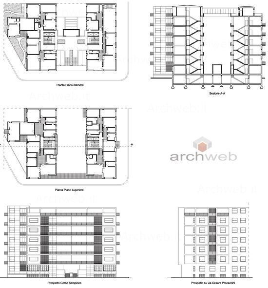 Casa rustici giuseppe terragni milano pianta prospetto for Piani di casa rustici