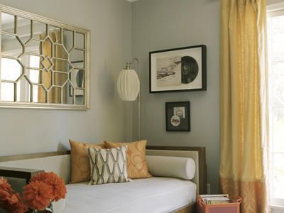 Gray with yellow accents: Decor, Mirror, Guest Room, Ideas, Daybed, Color, Guest Bedroom, Living Room, Rooms