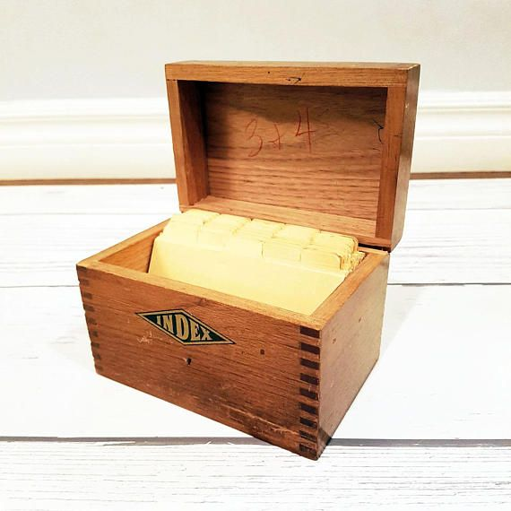 Vintage Wooden Index File Card Recipe Box Standard 3x5 Size Circa