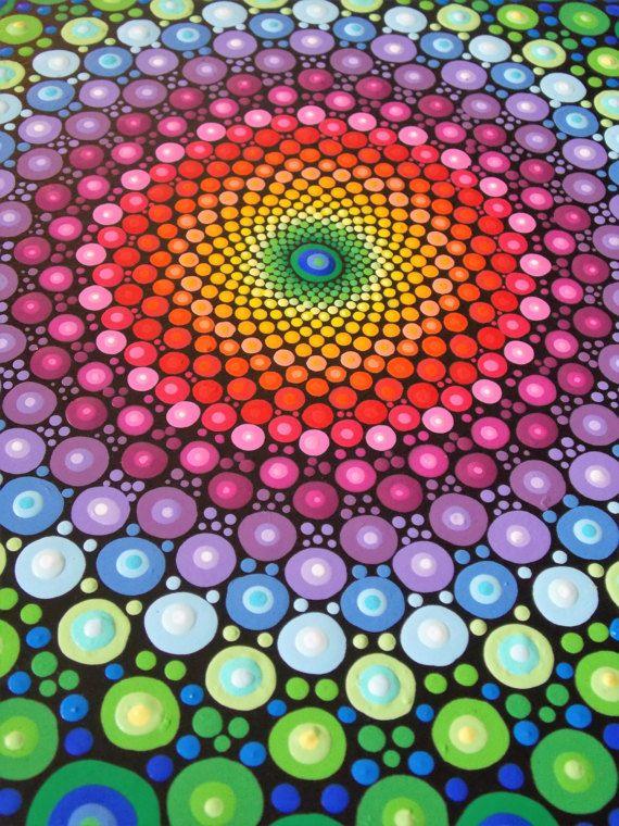 Rainbow Dot Mandala 10in. Round Original Mandala por KailasCanvas