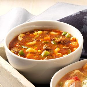 "Hamburger Minestrone | Taste of Home | ""Any kind of convenient frozen mixed vegetables and any type of small pasta will work well in this dish."
