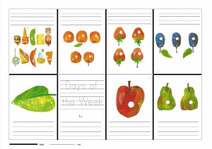 Mini books to practise writing skills, based on Eric Carle's The Very Hungry Caterpillar for EFL young learner classrooms.