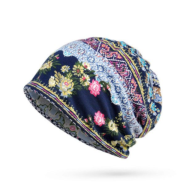 Women Cotton Print Stripe  Beanie Hats  Casual Outdoor For Both Hats And Scarf Use