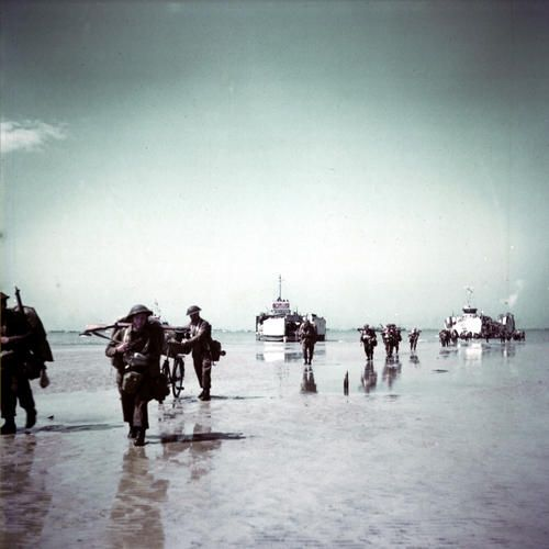 This is a picture that has had colour added to it. It shows the soldiers on the beach during d-day and how they had to swim and run up on shore in order to actually get to the beach. It also shows that they had to carry all of their equipment with them and how difficult that would have been. This is a credible source because it is a picture directly from the time period and gives a lot of information about what the troops went through in order to help the allies.