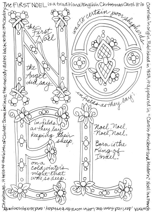 Christmas holiday Coloring page free to print from dover publications