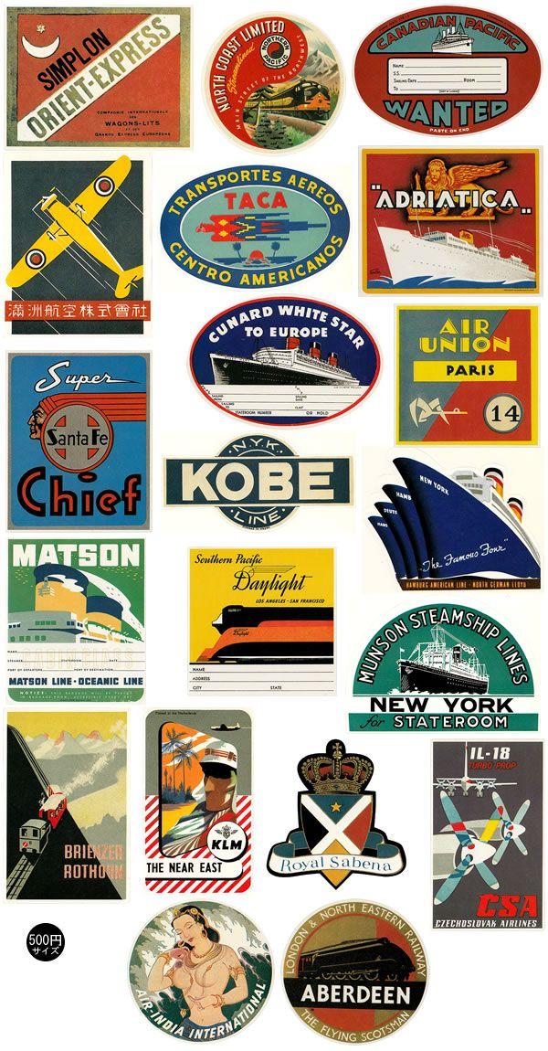 【ラゲッジレーベル】 スーツケース用ステッカー 20枚セット Golden age of Transport (汽車・船・飛行機の黄金時代)[ST300003]