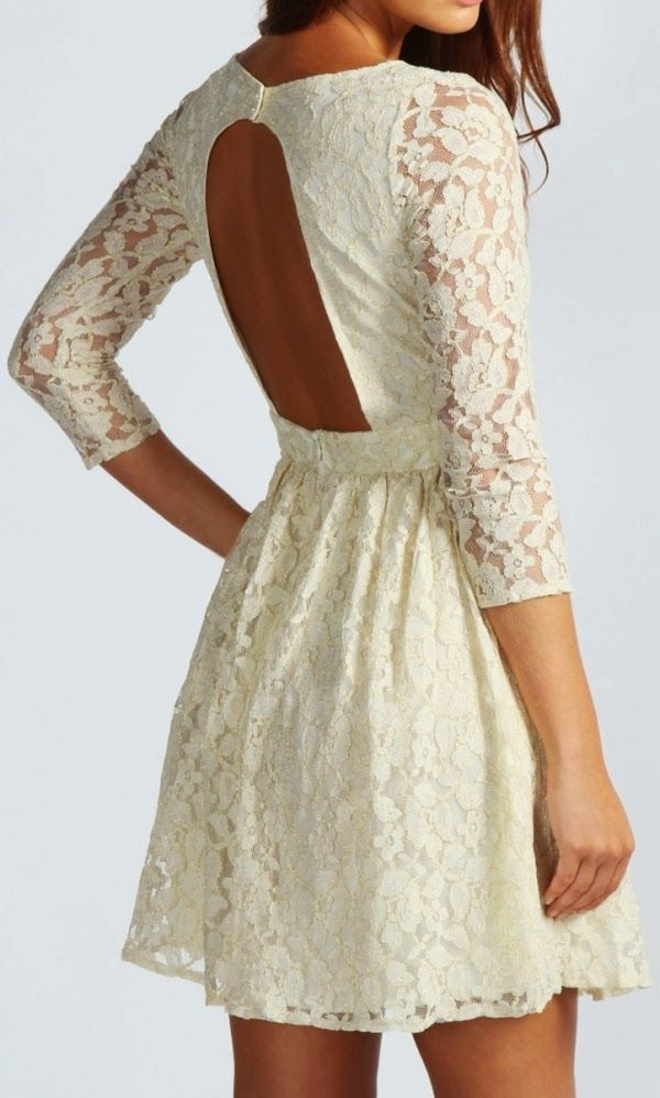 Open back cream color floral lace mini dress-graduation dress????