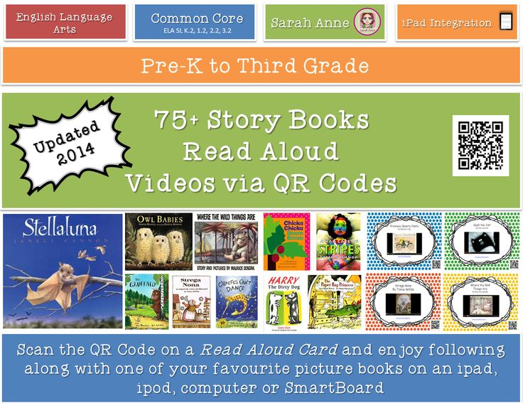 75 Read Aloud Picture book video cards for your reading corner. Boost your classroom library with 75 popular books to read on the ipad, ipod or active board. Scan (or click) the cards and enjoy a popular children's books on YouTube. Children from Pre-K- 5th grade will enjoy these wonderful stories. Feb2014 update - now 90 books #read #aloud #QR #code #technology #picture #books #ipad #classroom #tpt #sarahanne #classlibrary