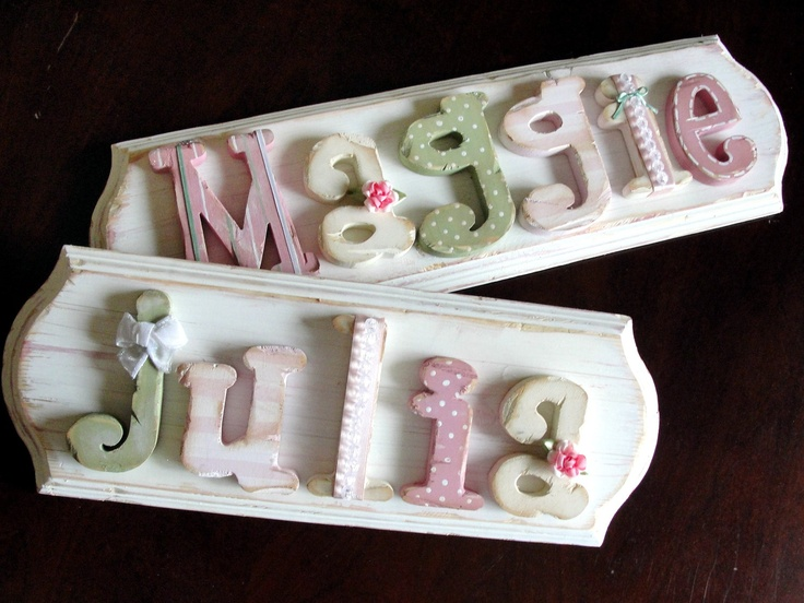 www.SerendipityHi... - custom name plaques, letters and modern vintage art.