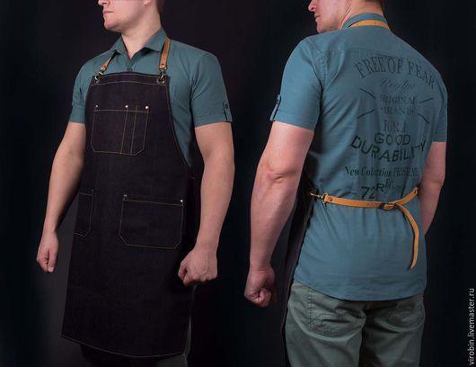 Персональные подарки ручной работы. Фартук Workshop с кожаными ремнями. Мастерская 'Vi&Robin'. Ярмарка Мастеров. Подарок для мужчины, фартук садовода 2500 руб