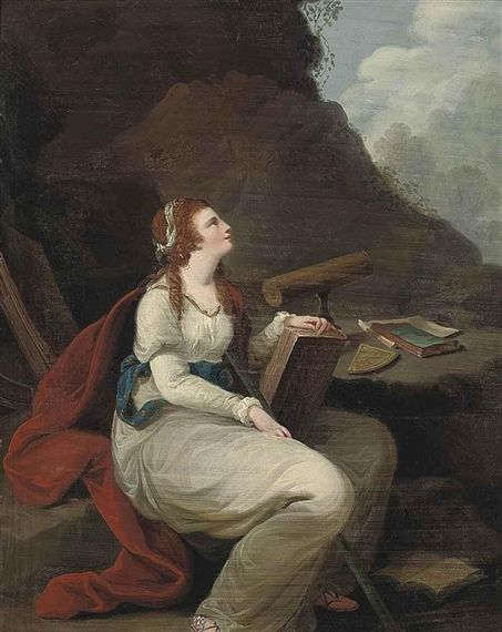 Angelica Kauffmann uses a telescope and a Gunter's quadrant for her depiction of Astronomy