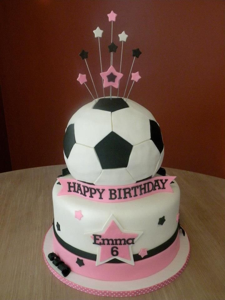 girly soccer cake Cake Chick s cakes Pinterest ...