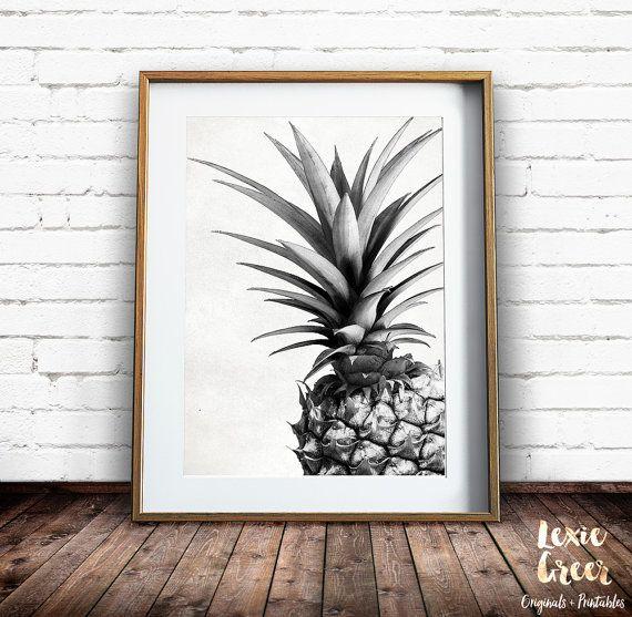 Ananas-Print, tropische Print, Ananas-Foto, schwarz und weiß, Frucht zu drucken, Ananas Wandkunst, druckbare Wandkunst, Instant Download