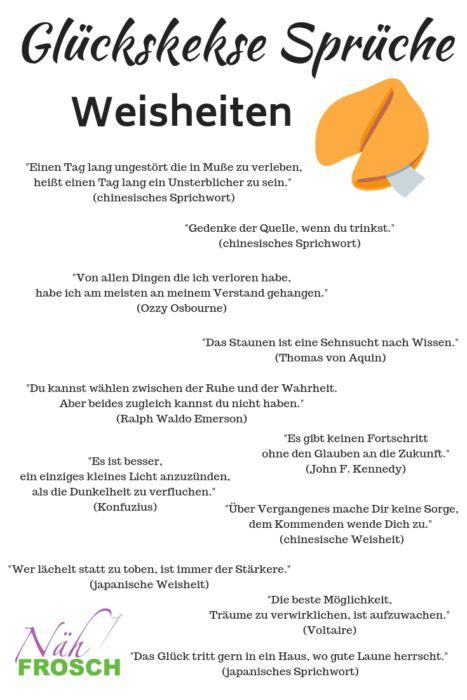 Glückskekse nähen: Anleitung und Sprüche für Glückskekse