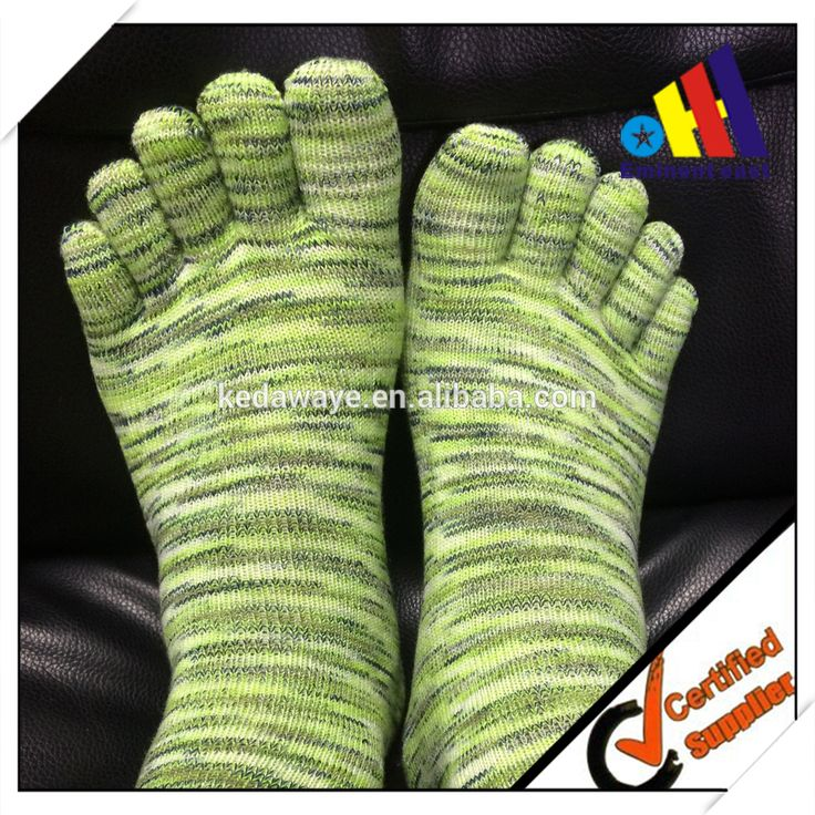 breathable colorful mix blend yarn bamboo five toe socks