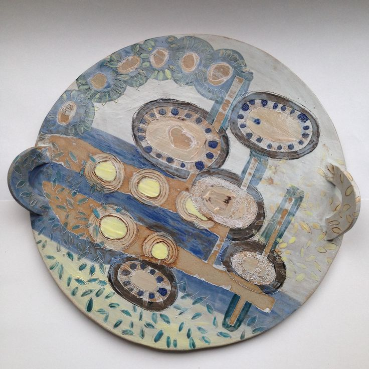 Emily Parr A tasty dish  #pottery #platters #paperstencils