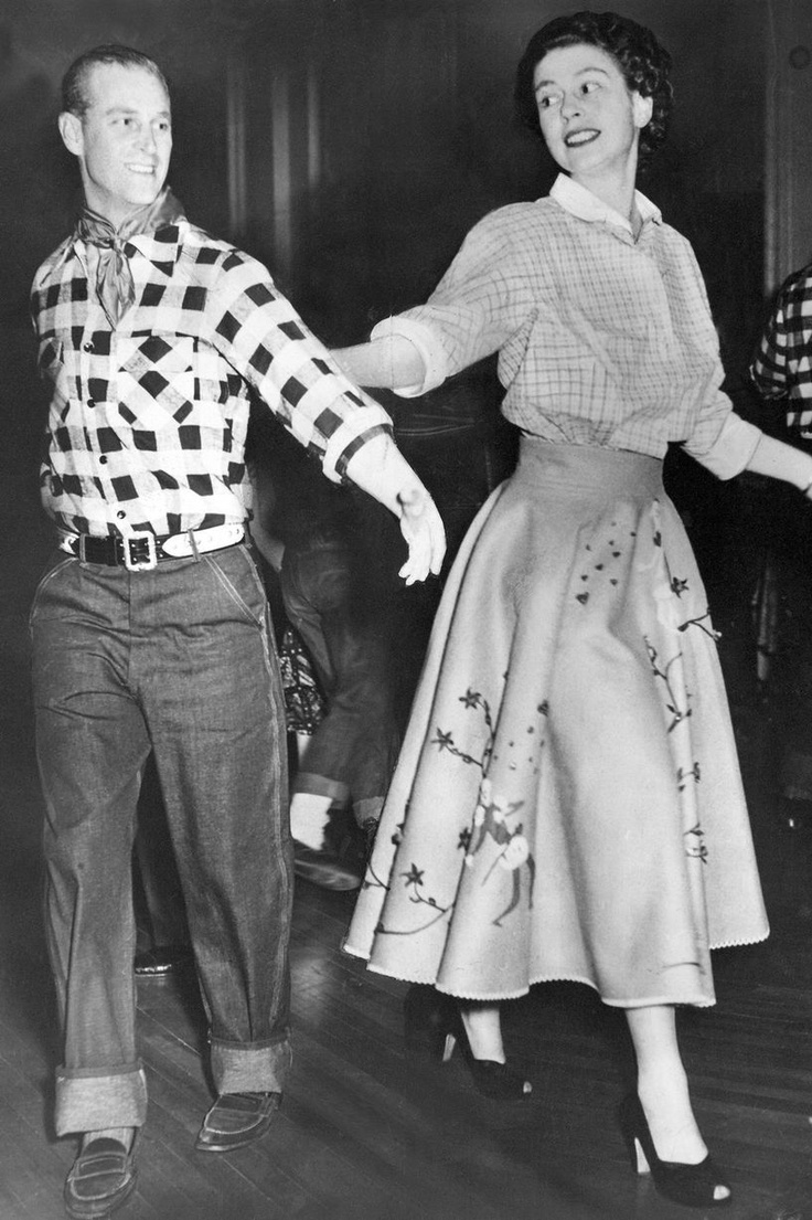 Dancing Queen Elizabeth and and Prince Philip join in a square dance at a cowboy dress party during the royal tour of Canada in 1951