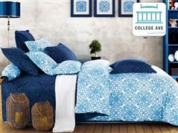 Crystalline Blue Twin XL Comforter Set - College Ave -100 Percent Cotton-Cheap College Bedding that will stand the test of time. Twin XL bedding is a college essential. Select a College Comforter Set that will last and make next year's supply list shorter