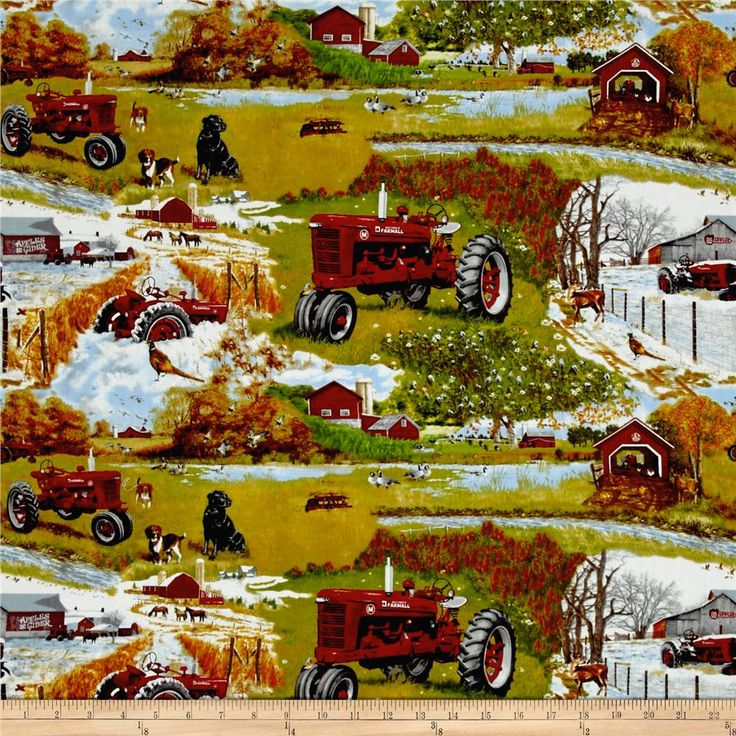 Farmall Four Seasons Scenic Allover Multi from @fabricdotcom  From CNH Industrial America LLC, this licensed cotton print fabric is perfect for quilting, apparel, and home decor accents. Colors include shades of green, brown, blue, grey, black, red, and orange.