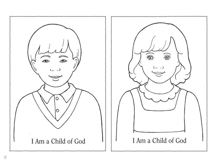Boy and girls template primary lesson for nursery for I am a child of god coloring page