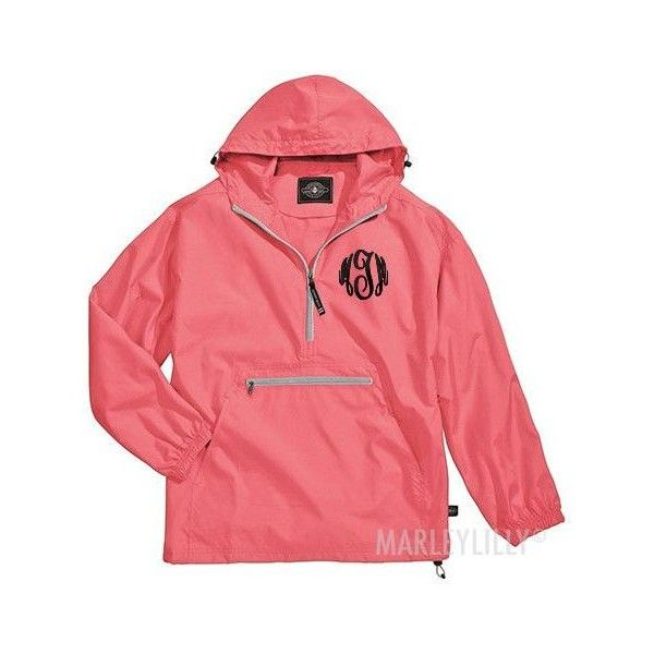 Monogrammed Lightweight Pullover Rain Jacket ($45) ❤ liked on Polyvore featuring outerwear, jackets, monogram, red jacket, rain jacket, sweater pullover, monogram jackets and pullover rain jacket