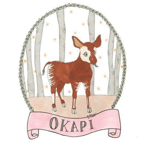 Okapi illustrated portrait by Sakura Kids. Nursery design print.