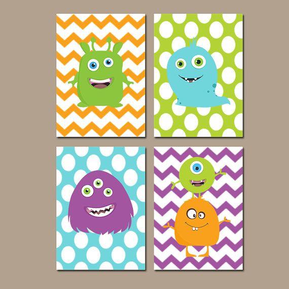 Monster Wall Art, CANVAS or Prints Nursery Child Boy Custom Colors Monogram Chevron Polka Dot Colorful Set of 4 Bedroom