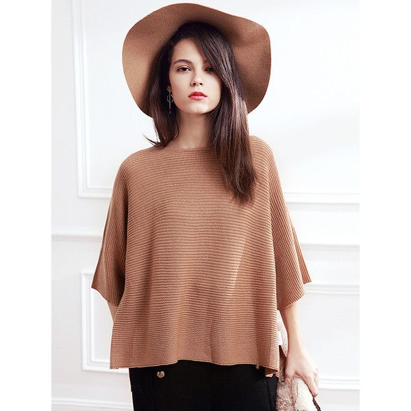 Camel Bat Sleeve Side Splits Loose Pullover ($20) ❤ liked on Polyvore featuring tops, sweaters, loose pullover sweater, loose fitting tops, beige pullover sweater, batwing sleeve tops and sweater pullover