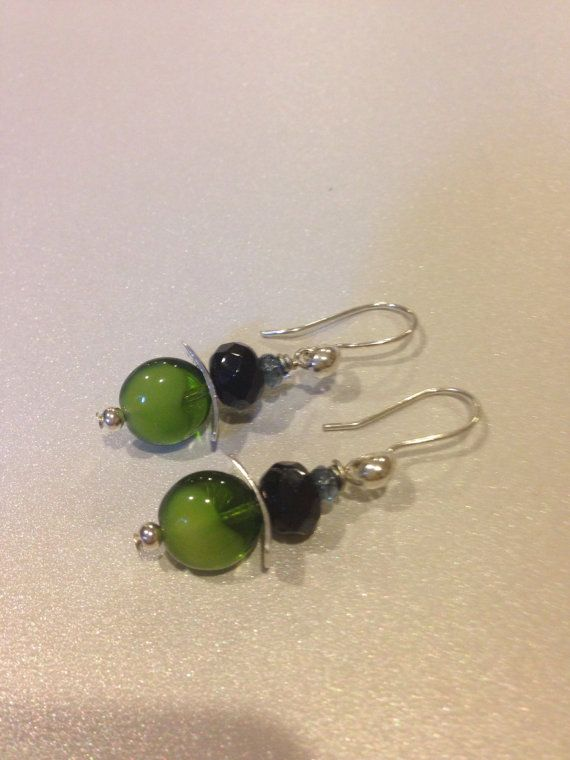Modern Silver pagoda Earrings Puffy Green Coin and Faceted Black Beads