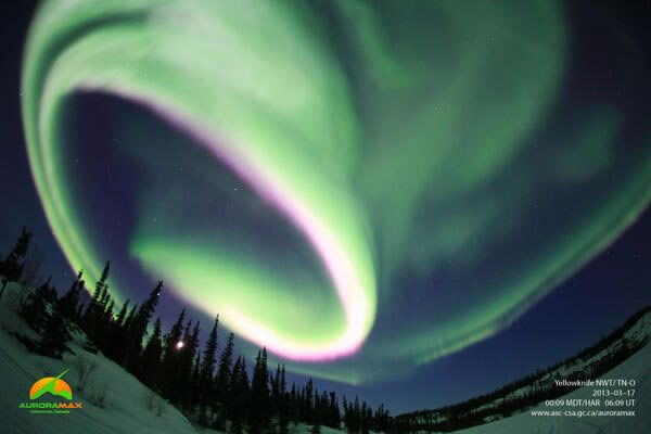 Canada's automated aurora camera tweeted this photo of an aurora borealis above Yellowknife, NWT taken at 00:09 MDT on March 17, 2013.