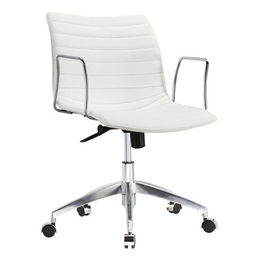 Modern White Leather Office Chair white faux leather modern mid-century office chair with curved mid