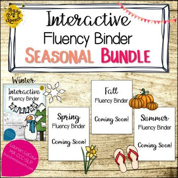 These fun seasonally-themed binders are a great addition to my Interactive Fluency Binder!  The add-on binder pages are designed to help your students practice the strategies and tools that can help them reduce instances of stuttering. No prep required!