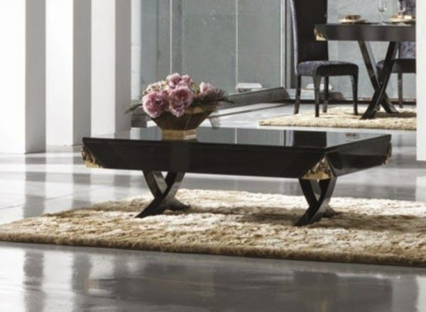 BLACK AND GOLDEN COFFEE TABLE | Black Glass Coffee Table In Luxury Living  Room Interior | Part 68