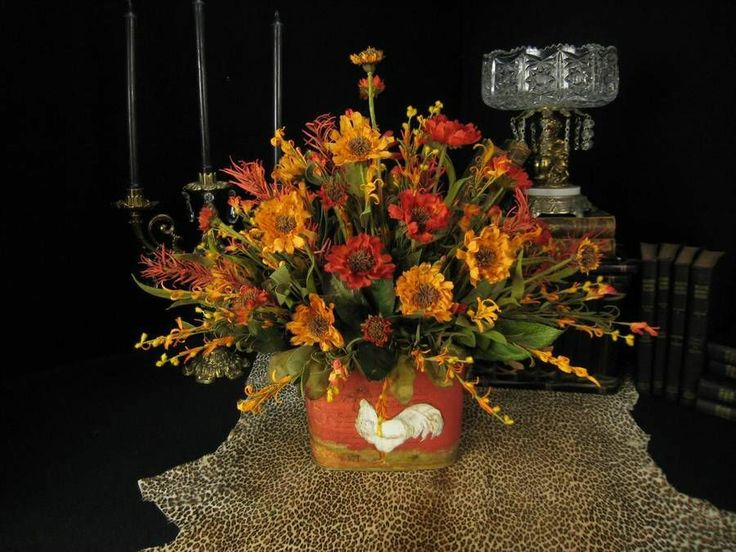 Gold orange french country rooster floral arrangement